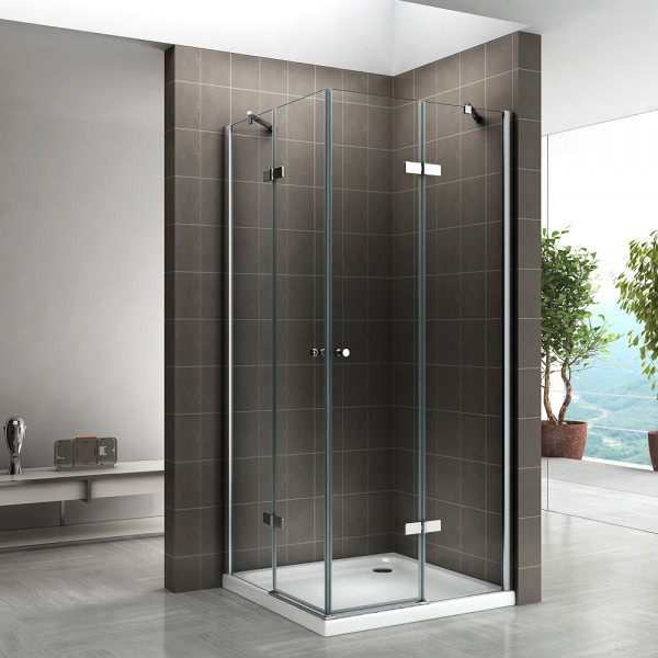 ALICE - Cabine de duche de canto com portas articuladas em vidro temperado