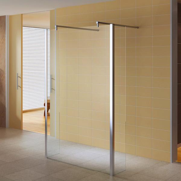 Painel de duche Walk-In em vidro temperado de 10 mm com 2 vidros laterais