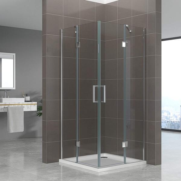 CELINE - Cabine de duche de entrada de canto com portas articuladas em vidro temperado