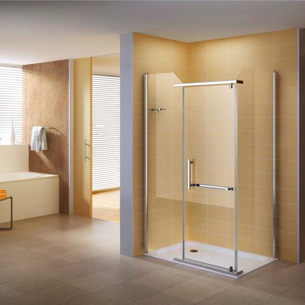 Cabine de duche de canto em vidro transparente DK8020 - Montável em ambos os lados (direita e esquer