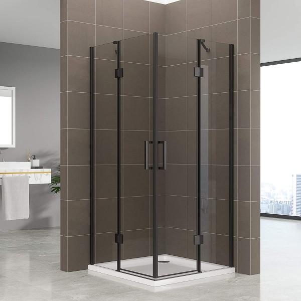 CELINE - Cabine de duche de entrada de canto com portas articuladas em vidro temperado e perfis pret