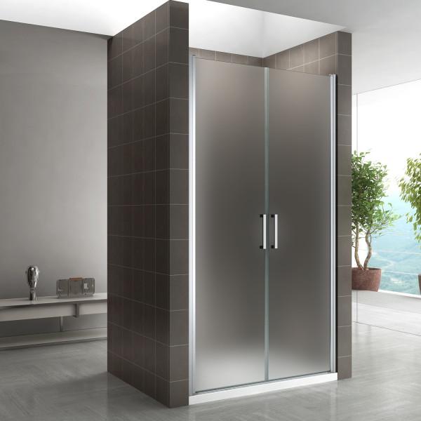 Porta de duche 68-140 cm em vidro temperado fosco de 6 mm com puxadores de aço inoxidável