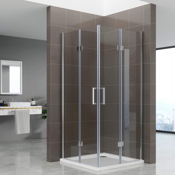 BELLE - Cabine de duche de entrada de canto com portas dobráveis em vidro temperado
