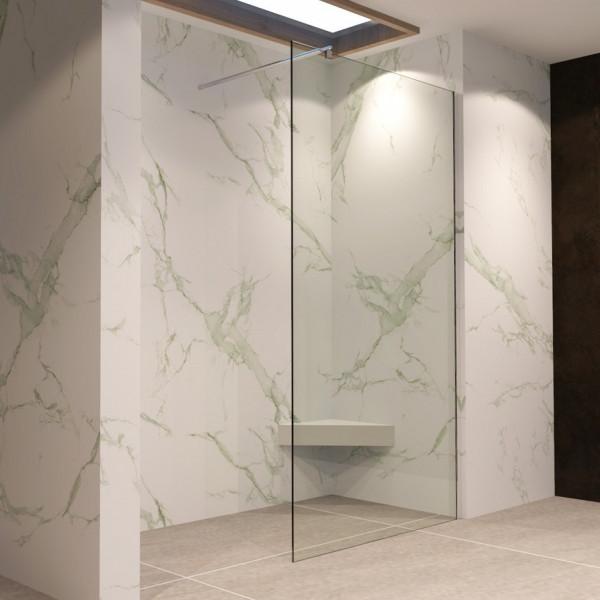 FIONA - Painel de duche Walk-In em vidro temperado transparente de 10 mm e perfis em aço inoxidável