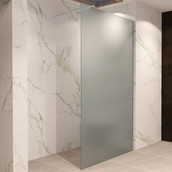 FIONA - Painel de duche Walk-In em vidro temperado fosco de 10 mm e perfis em aço inoxidável #740