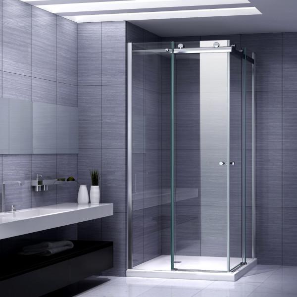 ANNA - Cabine de duche de entrada de canto com portas de correr em vidro temperado de 8mm