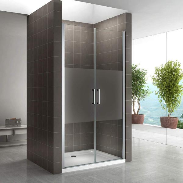 Porta de duche 68-140 cm em vidro temperado de 6 mm parcialmente fosco com puxadores em aço inoxidáv