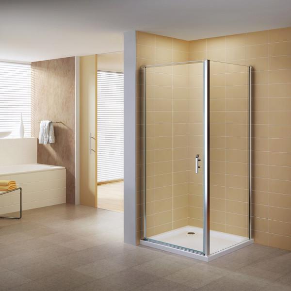 NICOLE - Cabine de duche de entrada frontal com portas articuladas em vidro de temperado de 8 mm