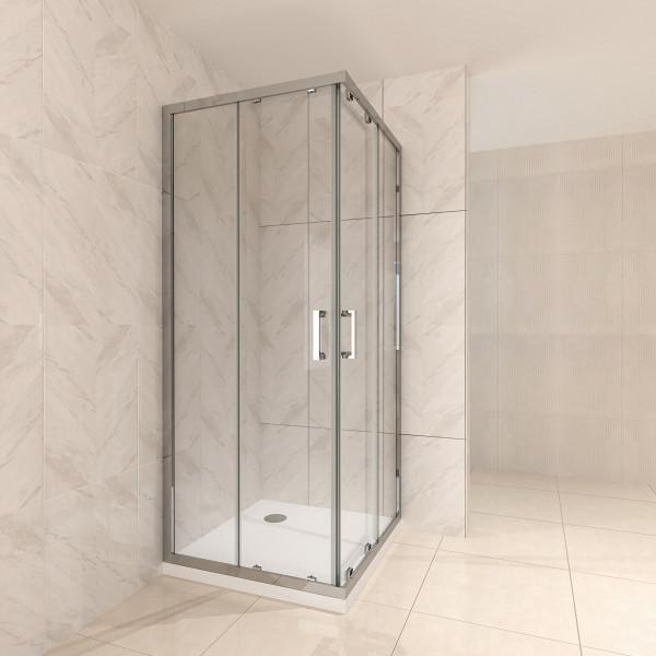 Cabine de duche com porta deslizante em vidro temperado ESG - TODOS OS TAMANHOS #77