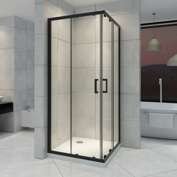 Cabine de duche de canto com portas de correr em vidro ESG, altura 190 cm com perfis pretos DK79