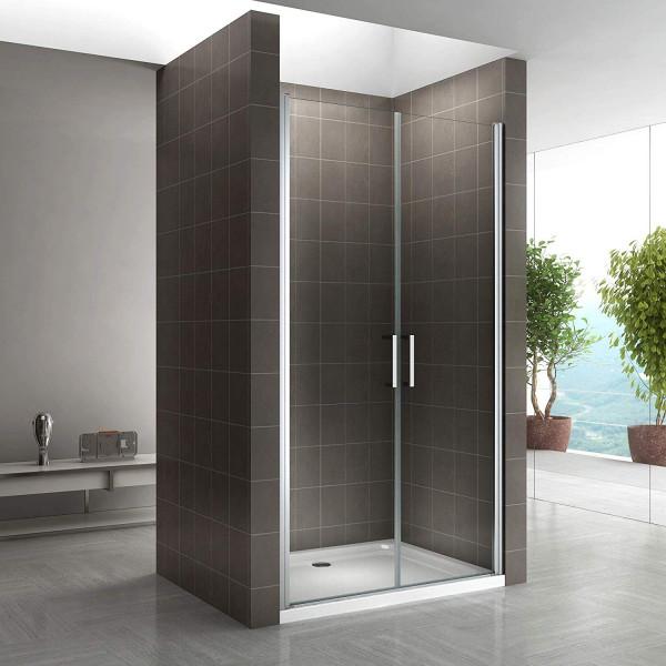 Porta de duche 68-140 cm em vidro temperado de 6 mm transparente com puxadores em aço inoxidável
