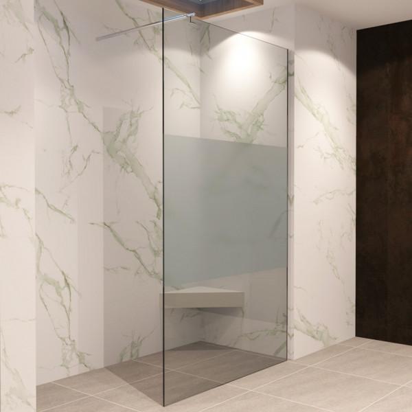 FIONA - Painel de duche Walk-In em vidro temperado meio fosco de 10 mm e perfis em aço inoxidável #7