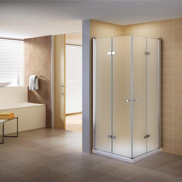 Cabine de duche de canto com porta basculante NANO-ESG em vidro fosco altura de: 190cm DK99
