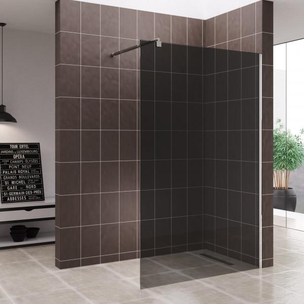FIONA - Painel de duche Walk-In em vidro temperado escurecido de 10 mm e perfis em aço inoxidável #7